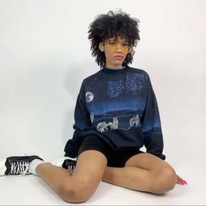 1990's Vintage Sky Wolf Graphic Sweatshirt